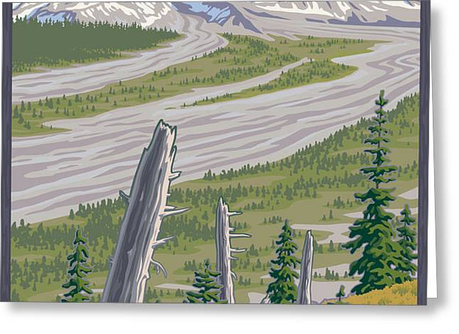 Vintage Mount St. Helens Travel Poster Greeting Card by Mitch Frey
