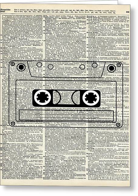 Player Drawings Greeting Cards - Vintage Music cassette  Greeting Card by Jacob Kuch