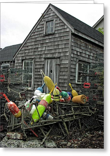 Shack Greeting Cards - Vintage New England Fishing Shack Greeting Card by Mike Martin