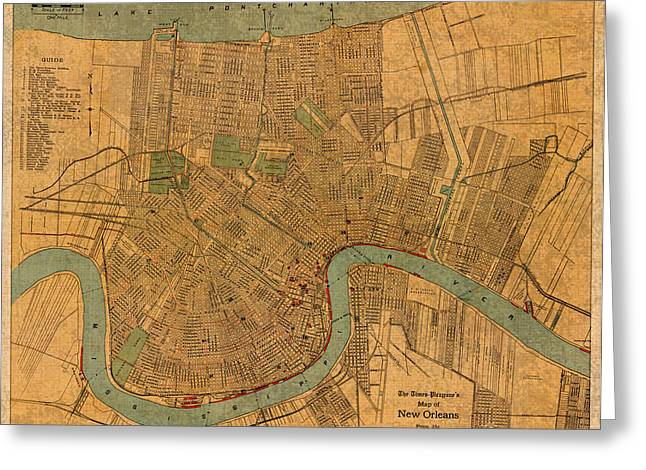 Cartography Mixed Media Greeting Cards - Vintage New Orleans Louisiana Street Map 1919 Retro Cartography Print on Worn Canvas Greeting Card by Design Turnpike