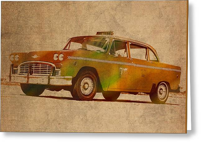 In-city Greeting Cards - Vintage New York City Taxi Cab Watercolor Painting on Worn Canvas Greeting Card by Design Turnpike