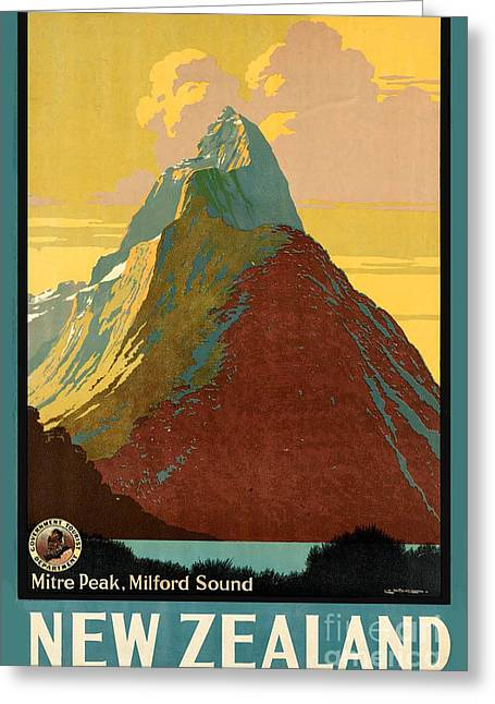 Vintage New Zealand Travel Poster Greeting Card by George Pedro