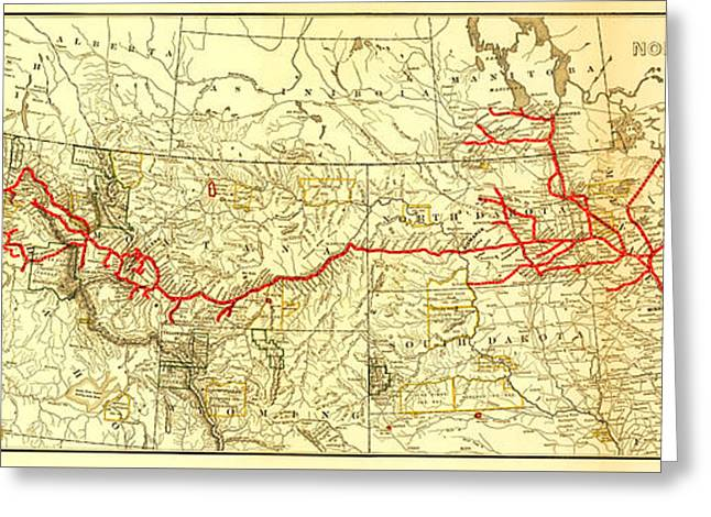 South Dakota Map Greeting Cards - Vintage Northern Pacific Railway Map Greeting Card by Stephen Stookey