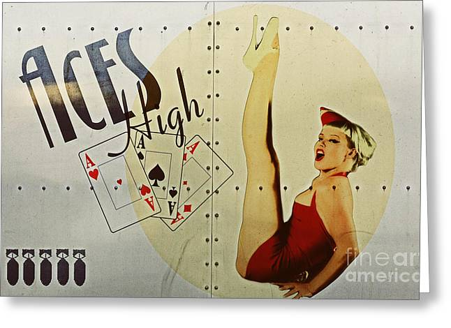 Nose Art Greeting Cards - Vintage Nose Art Aces High Greeting Card by Cinema Photography