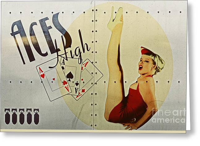 Pin Greeting Cards - Vintage Nose Art Aces High Greeting Card by Cinema Photography