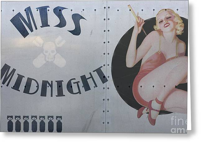 Noses Greeting Cards - Vintage Nose Art Miss Midnight Greeting Card by Cinema Photography