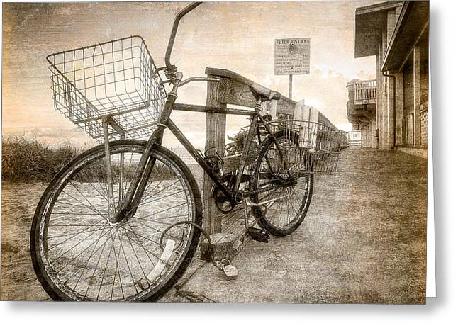 Vintage Ol' Bike Greeting Card by Debra and Dave Vanderlaan