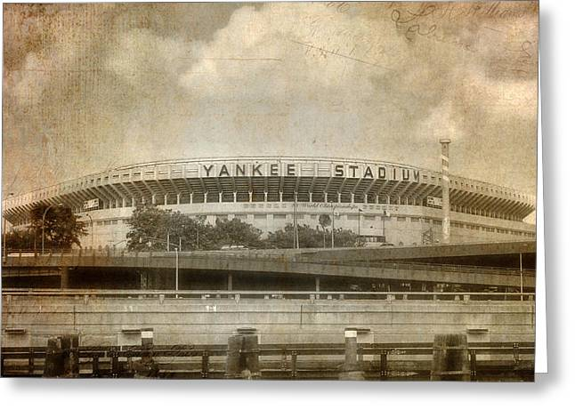 Nyc Scenes Greeting Cards - Vintage Old Yankee Stadium Greeting Card by Joann Vitali