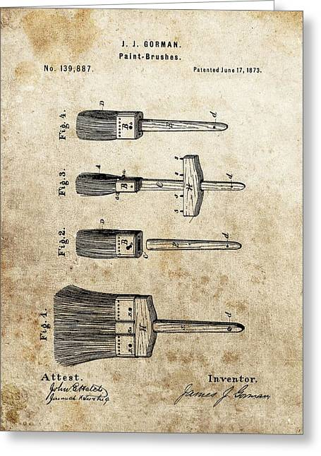 istic Photography Drawings Greeting Cards - Vintage Paint Brush Patent Greeting Card by Dan Sproul