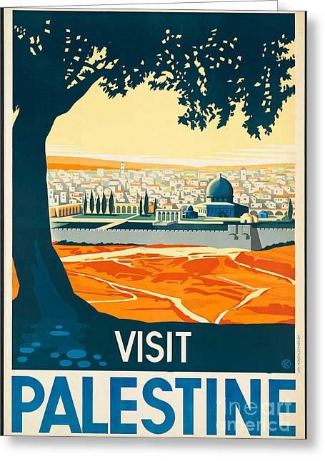 Vintage Palestine Travel Poster Greeting Card by George Pedro