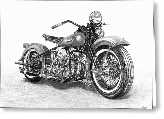Pencil Drawing Greeting Cards - Vintage Panhead Greeting Card by Francois Michaud