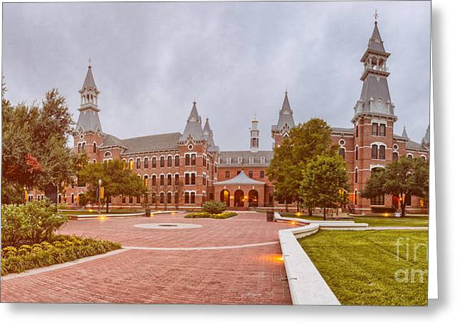 Vintage Panorama Of Burleson Hall At Baylor University - Waco Central Texas Greeting Card by Silvio Ligutti