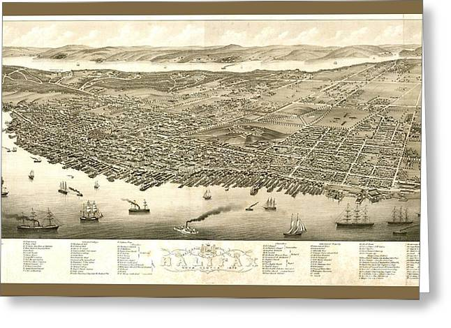 Vintage Panoramic Map Of Halifax Nova Scotia Canada Greeting Card by Pd