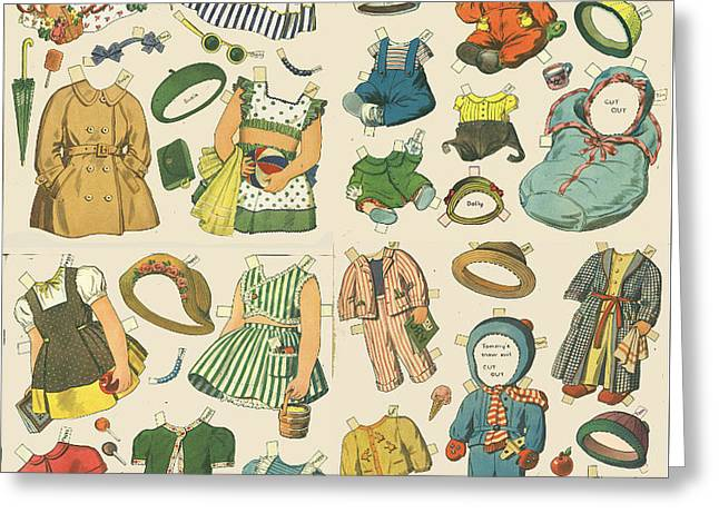 Paper Cut Greeting Cards - Vintage Paper Dolls  Greeting Card by Edward Fielding