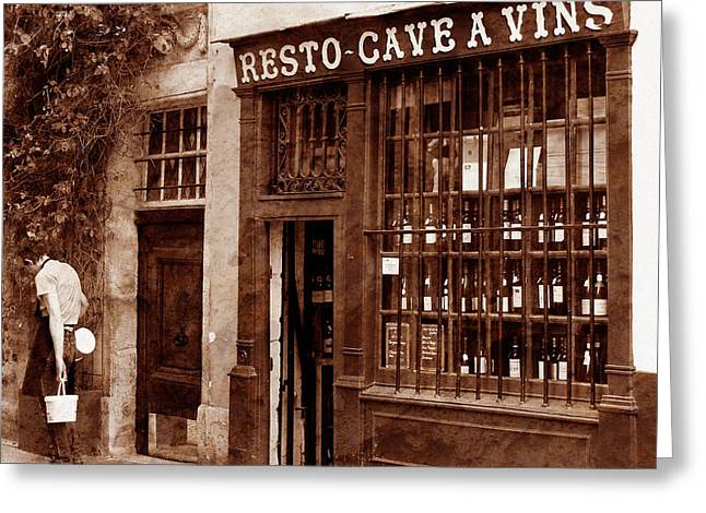 Wine Shop Greeting Cards - Vintage Paris 3 Greeting Card by Andrew Fare