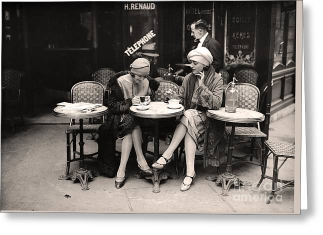 Vintage Paris Cafe Greeting Card by Mindy Sommers