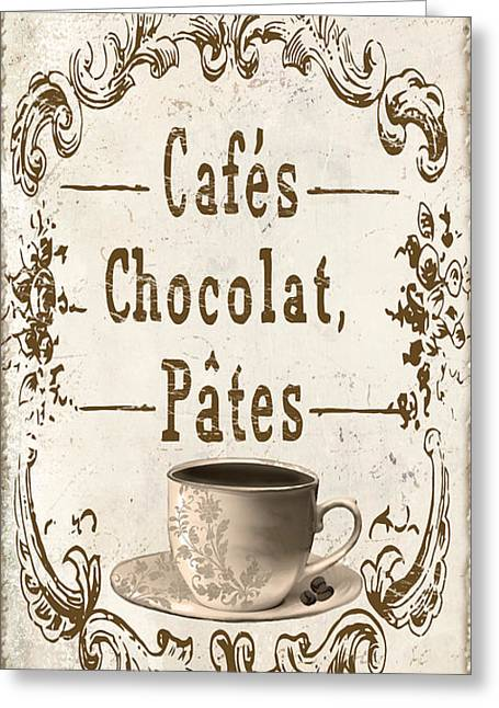 Vintage Antiques Sign Greeting Cards - Vintage Paris Cafe Sign Greeting Card by Mindy Sommers