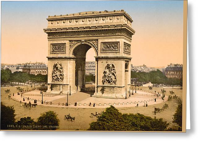 Arc De Triomphe Greeting Cards - Vintage Paris Photo - Arc de Triomphe - c1895 Greeting Card by Vintage Paris
