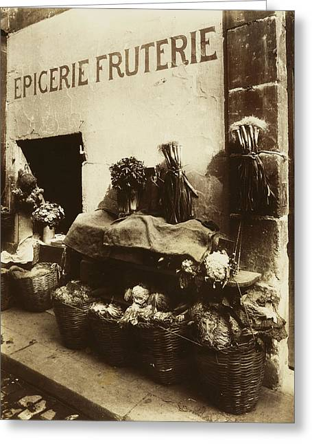 Grocery Store Greeting Cards - Vintage Paris Photo - Epicerie Fruterie - Grocery Store - 1912 - Eugene Atget Greeting Card by Vintage Paris