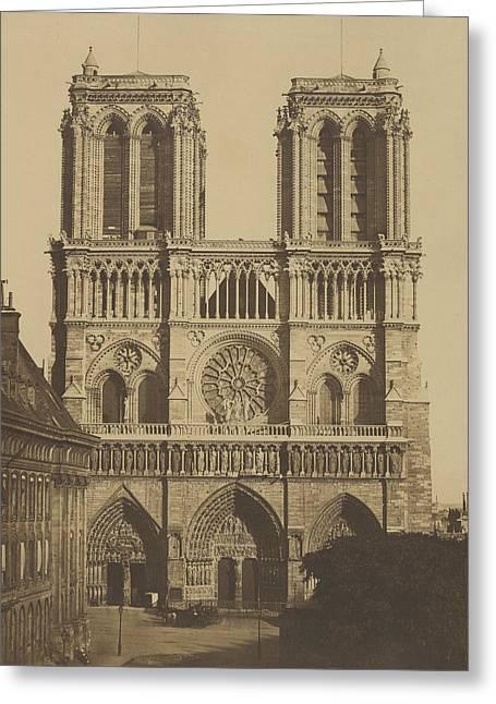 Notre Dame Greeting Cards - Vintage Paris Photo - Notre Dame Cathedral - Edouard Baldus - c1850 Greeting Card by Vintage Paris