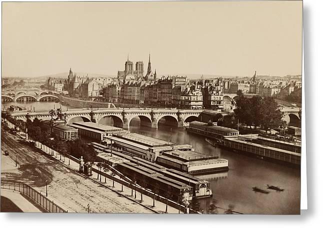 Notre Dame Greeting Cards - Vintage Paris Photo - Panorama of Paris with the Seine River - Edouard Baldus - c1851 Greeting Card by Vintage Paris