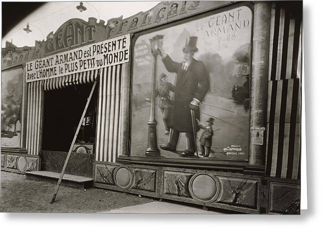 Old Street Greeting Cards - Vintage Paris Photo - Street Fair - Fete du Trone - Eugene Atget - 1925 Greeting Card by Vintage Paris
