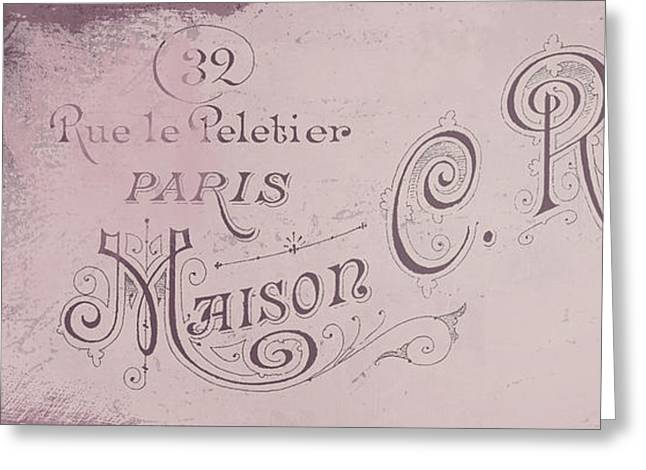 Antiques Sign Greeting Cards - Vintage Paris Pink Sign Greeting Card by Mindy Sommers