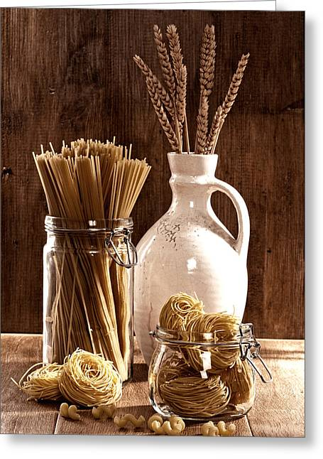 Prepared Greeting Cards - Vintage Pasta  Greeting Card by Amanda And Christopher Elwell