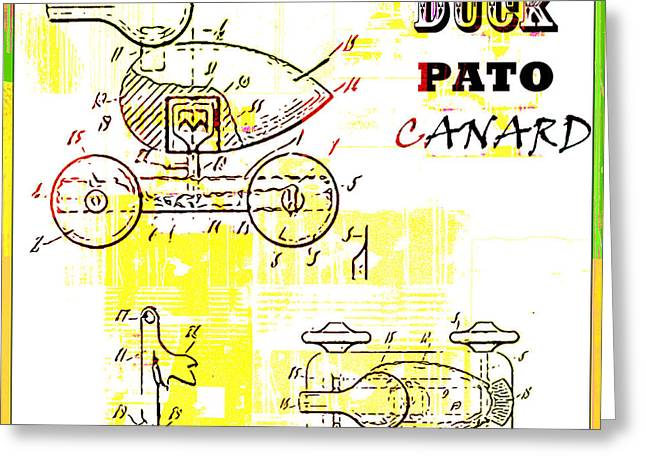 Juvenile Wall Decor Greeting Cards - Vintage Patent Art for Kids - Toy Duck Greeting Card by ArtyZen Studios - ArtyZen Home