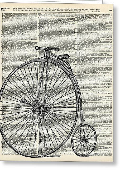 Sloth Greeting Cards - Vintage Penny Farthing bicycle Greeting Card by Jacob Kuch
