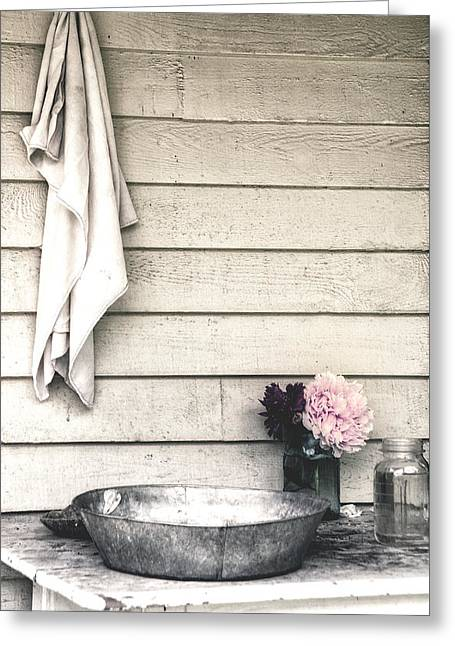 Vintage Peony And Hand Wash Basin Greeting Card by Julie Palencia