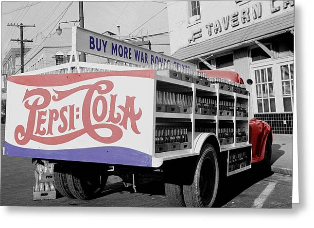 Soft Drink Greeting Cards - Vintage Pepsi Truck Greeting Card by Andrew Fare