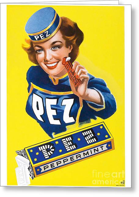 Advertisment Greeting Cards - Vintage Pez Advertisment Greeting Card by Jon Neidert
