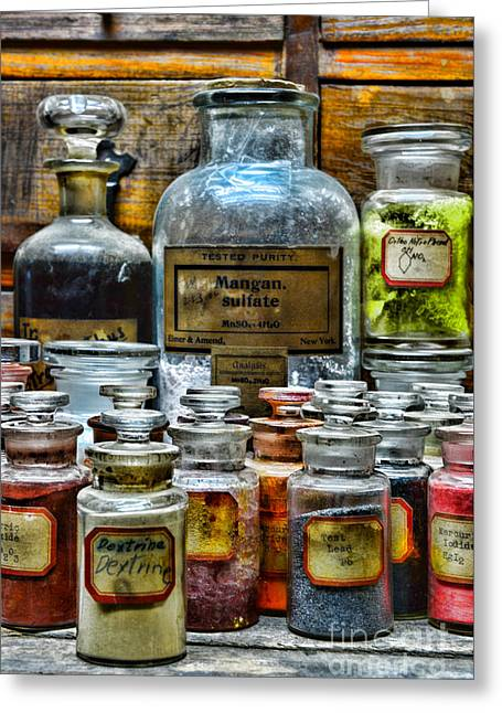 Old Grinders Photographs Greeting Cards - Vintage Pharmacy - So Many Chemicals Greeting Card by Paul Ward