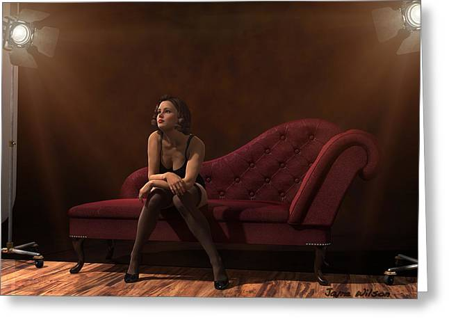 Chaise Digital Art Greeting Cards - Vintage Photo Studio Greeting Card by Jayne Wilson