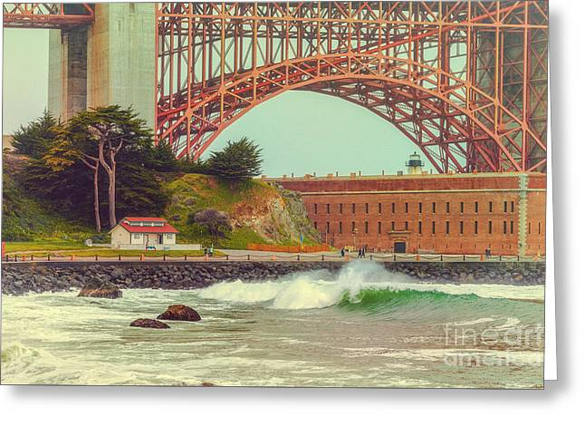 Vintage Photograph Of Fort Point And Golden Gate Bridge - San Francisco California Greeting Card by Silvio Ligutti