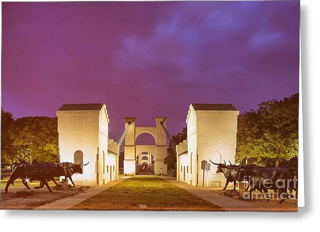 Vintage Photograph Of The Waco Suspension Bridge And Chisholm Trail At Dawn - Downtown Waco - Texas Greeting Card by Silvio Ligutti