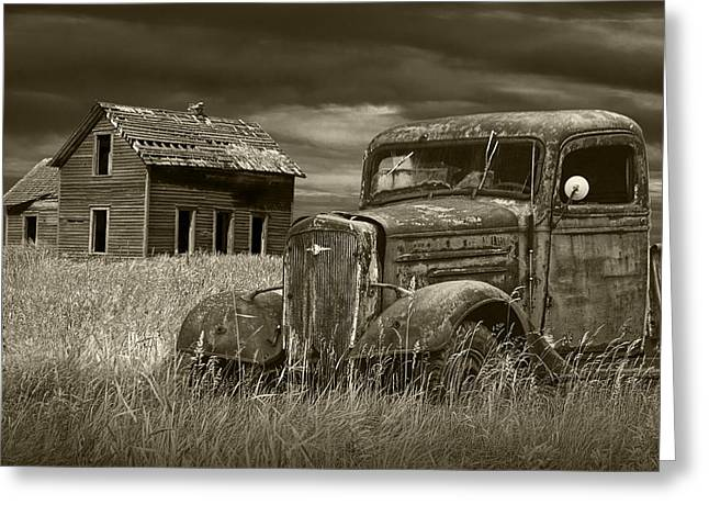 Rusted Cars Greeting Cards - Vintage Pickup in Sepia Tone by an Abandoned Farm House Greeting Card by Randall Nyhof