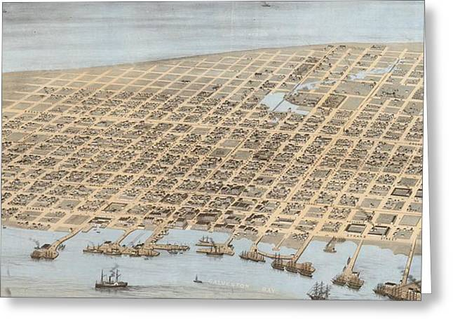 Vintage Pictorial Map Of Galveston - 1871 Greeting Card by CartographyAssociates