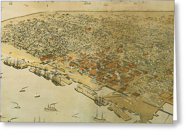 Vintage Pictorial Map Of Galveston Tx - 1885 Greeting Card by CartographyAssociates