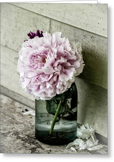 Vintage Pink Peony In Ball Jar Greeting Card by Julie Palencia