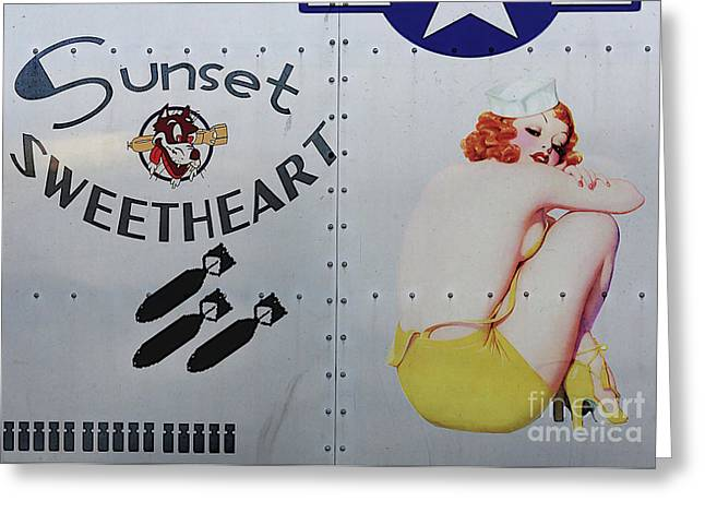 Vintage Nose Art Greeting Cards - Vintage Pinup Nose Art Sunset Sweetheart Greeting Card by Cinema Photography