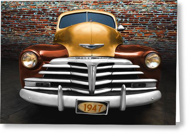 Vintage Police Car Greeting Card by Steven Michael