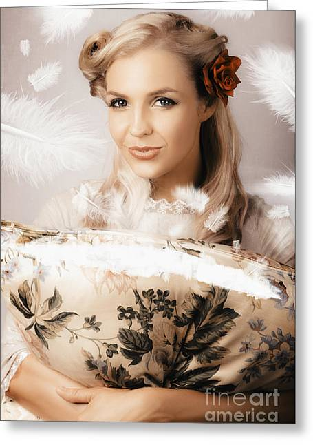 Vintage Portrait Of A Perfect Female Beauty Greeting Card by Jorgo Photography - Wall Art Gallery