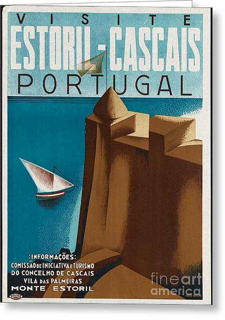Vintage Portugal Travel Poster Greeting Card by George Pedro
