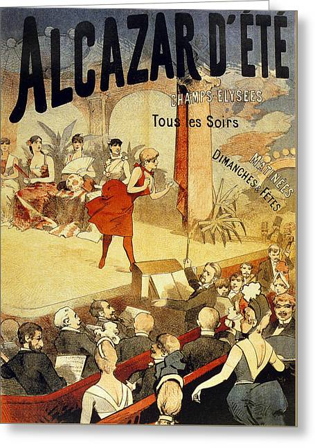 Showgirl Greeting Cards - Vintage Poster for Cabaret Alcazar Greeting Card by French School