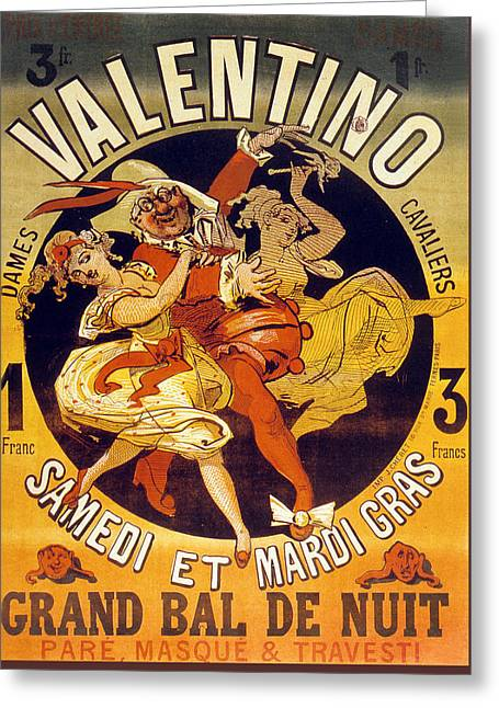 Dancing Girl Greeting Cards - Vintage Poster for Cabaret Valentino  Greeting Card by Jules Cheret