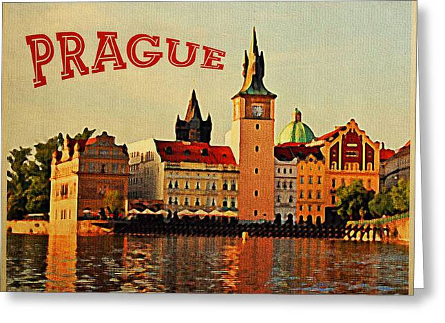 Vintage Prague Greeting Card by Flo Karp