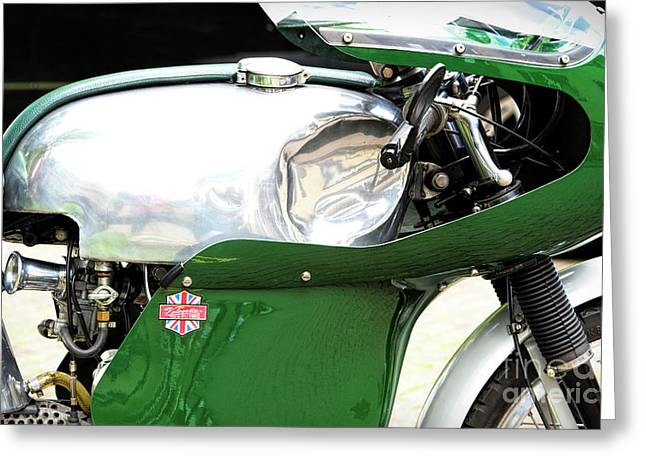 Vintage Racing Velocette Greeting Card by Tim Gainey