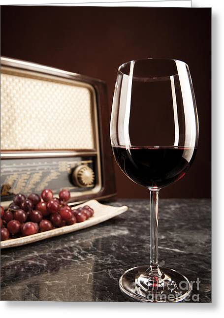 Vintage Radio Grapes And A Glass Of Red Wine Greeting Card by Wolfgang Steiner